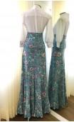 Floral Turquoise Godet Flamenco Skirt