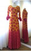Vestido Flamenco Amarillo c/Flores Rosa