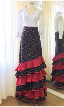 Saia Flamenca Preta Floral 6 Babados