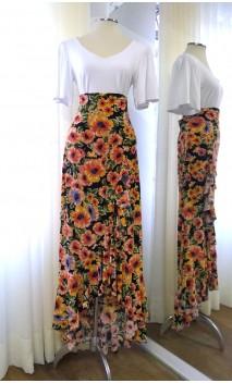 Floral Black Flamenco Skirt w/Ruffle