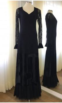 Vestido Flamenco Preto de Renda e Veludo