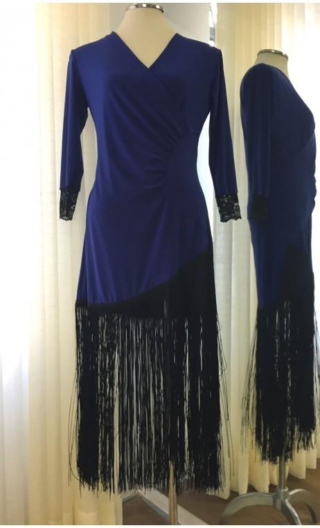 Blue Short Dress w/Black Fringe