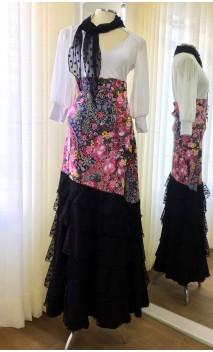 Falda Floral Negra 6 Volantes Túl c/Pañuelo