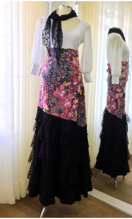 Saia Flamenca Preta Floral 6 Babados Tule c/Lenço