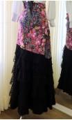 Floral Black Flamenco Skirt 6 Tulle Ruffles w/Scarf