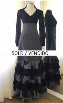 Grey & Black Flamenco Skirt 5 Ruffles