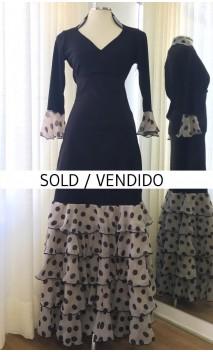 Black & Beige Top & Skirt 5 Ruffles Flamenco Set