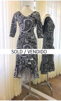 Black & White Midi Dress w/Black Fringe