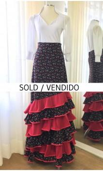 Floral Black 6 Ruffles Flamenco Skirt