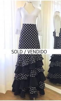 Falda Flamenca Negra c/Lunares 6 Volantes