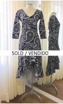 Black & White Midi Dress w/White Fringe