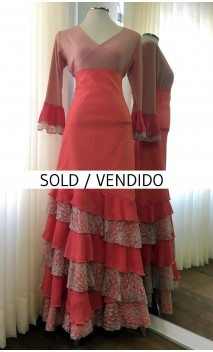 Salmon Top & Skirt 6 Ruffles Flamenco Set