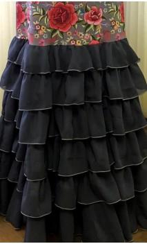 Vestido Flamenco Gris Floral 6 Volantes