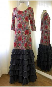 Vestido Flamenco Cinza Floral 6 Babados