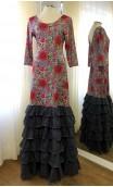 Floral Grey Flamenco Dress 6 Ruffles