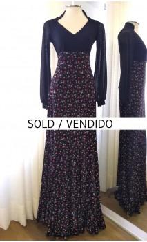 Floral Black Godet Flamenco Skirt