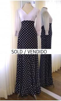 Black w/Polka-dots Godet Flamenco Skirt