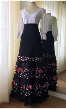 Falda Flamenca Negra c/Volantes Estampados