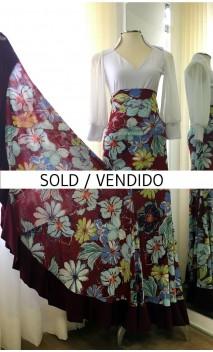 Floral Burgundy Flamenco Skirt Extra Godet