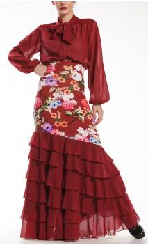 Conjunto Flamenco de Camisa y Falda Neo Garden 6 Volantes