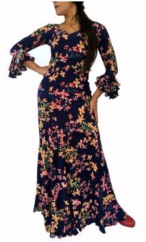 Conjunto Flamenco de Blusa y Falda Godet Azul Floral