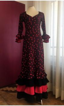 Vestido Flamenco Negro y Rojo 4 Volantes