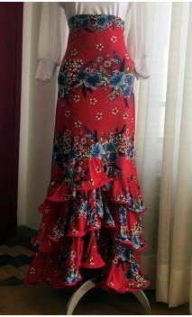 Saia Flamenca Vermelha Floral 3 Babados