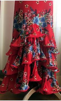 Red Floral Collin Flamenco Skirt 3 Ruffles