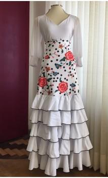 Saia Flamenca Branca Floral 5 Babados