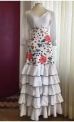 White Floral Flamenco Skirt 5 Ruffles
