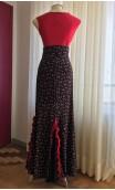 Black Floral Flamenco Skirt w/Panels