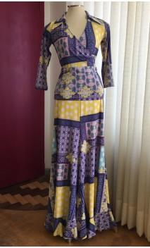 Conjunto Flamenco Falda & Blusa Estampado Azul y Amarillo