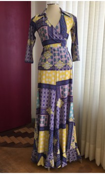 Printed Blue & Yellow Skirt & Top Flamenco Set