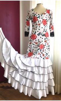 Vestido Flamenco Blanco Floral 5 Volantes