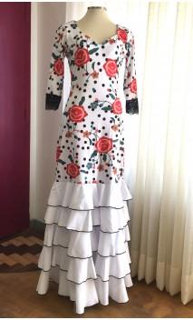 Floral White Flamenco Dress 5 Ruffles