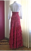 Rose Flamenco Skirt w/ Lace and 6 Ruffles