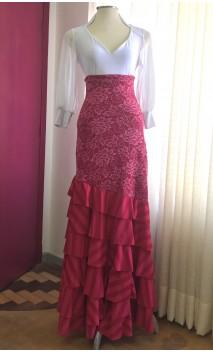 Falda Flamenca Rosa c/ Encajes y 6 Volantes