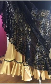 Falda Flamenca Terciopelo c/Enagua Dorada