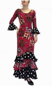 Vestido Flamenco Rosa Oscuro Floral 3 Volantes