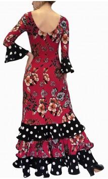 Floral Dark Rose Flamenco Dress 3 Ruffles