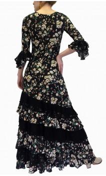Vestido Flamenco Negro Floral c/Encajes