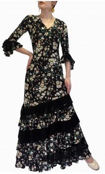 Vestido Flamenco Preto Floral c/Renda