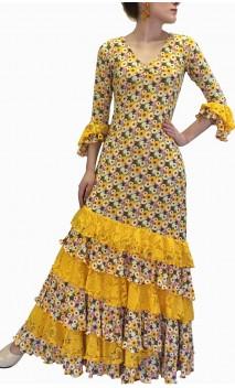 Vestido Flamenco Amarelo Floral c/Renda