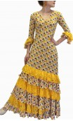 Floral Yellow Flamenco Dress w/Lace