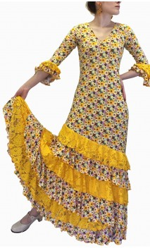 Vestido Flamenco Amarillo Floral c/Encajes