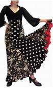 Francesca Floral & Polka-dots Flamenco Skirt w/ 6 Panels