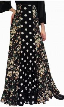Falda Flamenca Francesca Floral y Lunares con Gomos