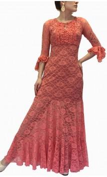 Vestido Flamenco Olga de Renda c/Detalhes de Babados