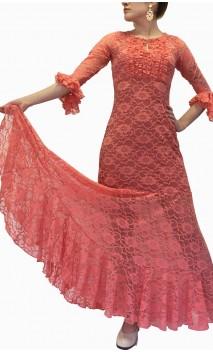 Vestido Flamenco Olga Encajes c/ Volantitos