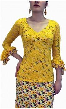 Leonor Lace Flamenco Top 3/4 sleeves